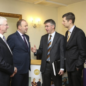 Pictured at Shannon Chamber's Budget 2015 breakfast briefing (from left): Niall O'Dwyer, Grant Thornton; Andy O'Neill, Choice Hotel Group; Eamonn Murphy, Grant Thornton and Ivan Tuohy, Clarion Hotel, Limerick. Photo: Eamon Ward.