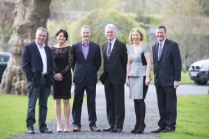 At the Shannon Chamber lunch in Dromoland Castle Hotel: (from left): John Herlihy, VP and head of Google Ireland; Helen Downes, Shannon Chamber; Professor John Fahy, UL; Kevin Thompstone, president, Shannon Chamber; and Lavinia Ryan and Gearoid Gilley, VHI Ireland, event sponsors. Photo Eamon Ward.