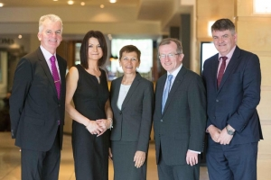 Pictured at Shannon Chamber's tourism business lunch in the Radisson Blu Hotel and Spa, Limerick (from left): Kevin Thompstone, president and Helen Downes, chief executive, Shannon Chamber; Suzanne Boda, senior vice president, American Airlines; Niall Gibbons, chief executive, Tourism plc. Photo: Eamon Ward.