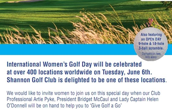 Free Tuition for Lady Golfers at Shannon GC on International Women's Golf Day