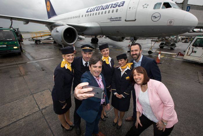 Declan Power, Head of Aviation Development, Shannon Airport take a picture of Liesellette Schmidt, Captain Torsten Adams, Tanja Bartl, Sahar Roos, Shannon Group Chief Commercial Officer Andrew Murphy and Isabel Harrison, Shannon Airport for the inaugural Shannon Frankfurt service by Lufthansa on Saturday 29th April 2017. Picture Sean Curtin True Media.