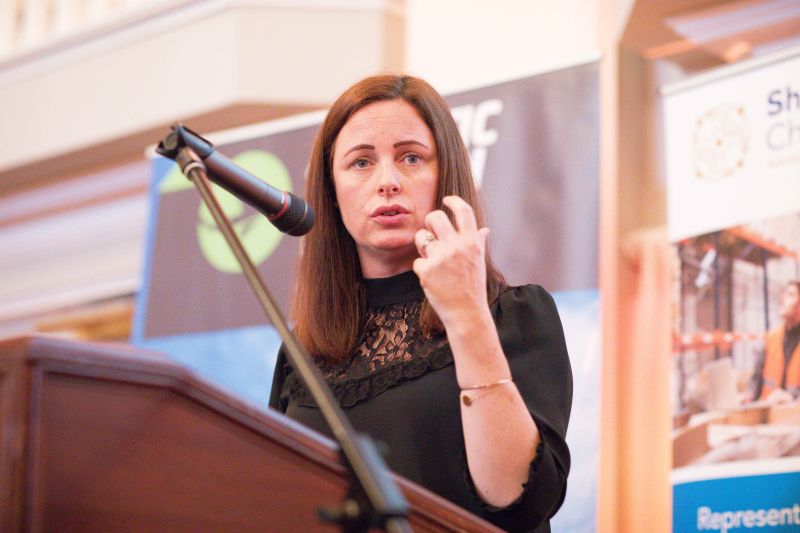 Caroline Currid, Performance Psychologist speaking at Shannon Chamber Lunch in Dromoland. Photograph by Eamon Ward