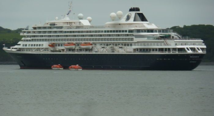 Luxury cruise-liner celebrating its final voyage anchors in Foynes
