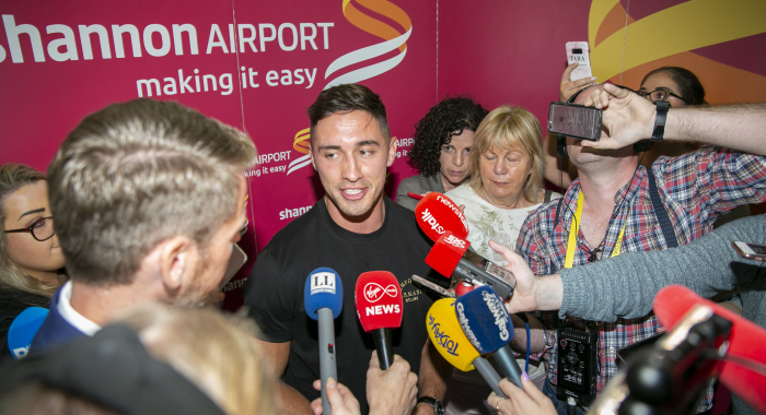 Greg O'Shea touches down at Shannon Airport