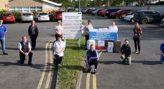 Zimmer Biomet Ireland Donates PPE to the Rehabilitation Unit of St Joseph's Hospital, Ennis