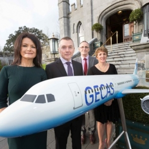 **NO REPRO FEE** Helen Downes ,CEO Shannon Chamber with Willie Walsh, CEO IAG , Sean Flannery , GECAS and Julie Dickerson, President Shannon Chamber of Commerce at the Shannon Chamber President's Lunch at Dromoland Castle on Friday. Photograph by Eamon Ward (Gordon Deegan has story on Willie Walsh)