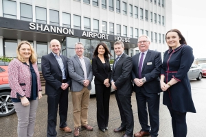 At the Shannon Chamber and Local Enterprise Office event at Shannon Chamber were from left Marie Clifford, ATC, Don Foynes, Modular Automation, Claude Costelloe, Zimmer Biomet, Helen Downes, CEO Shannon Chamber , Gerry Murphy, EI Electronics and Lillian Kearney, Modular Automation. Photograph by Eamon Ward