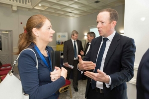 "Mary Rodgers, Enterprise Ireland speaking to Jonathan Dalton, Key Capital at the Shannon Chamber of Commerce and Key Capital ""Raising CXapitl for SME's"" event at the Oakwood Shannon on Wednesday morning. Photograph by Eamon Ward"
