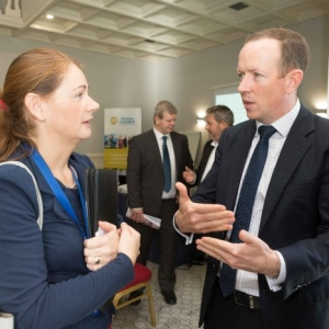 """Mary Rodgers, Enterprise Ireland speaking to Jonathan Dalton, Key Capital at the Shannon Chamber of Commerce and Key Capital """"Raising CXapitl for SME's"""" event at the Oakwood Shannon on Wednesday morning. Photograph by Eamon Ward"""