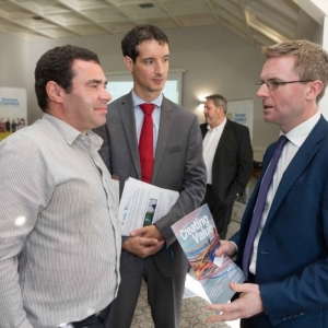 """Donal Collins , Action Point, Denis Kelly and Stephan Twoomey, Willis Towers Watson at the Shannon Chamber of Commerce and Key Capital """"Raising CXapitl for SME's"""" event at the Oakwood Shannon on Wednesday morning. Photograph by Eamon Ward"""