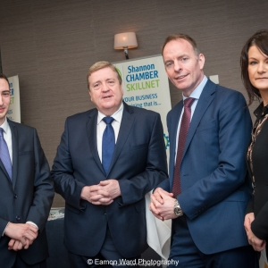 No repro fee- upskilling the mid west - 06/03/2017, From left to right: Cillian Griffey - Shannon Chamber Skillnet, Minister of State for Employment and Small Businesss, Pat Breen TD, Paul Healy - CEO Skillnet, Helen Downes - CEO Shannon ChamberPhoto credit Shauna Kennedy